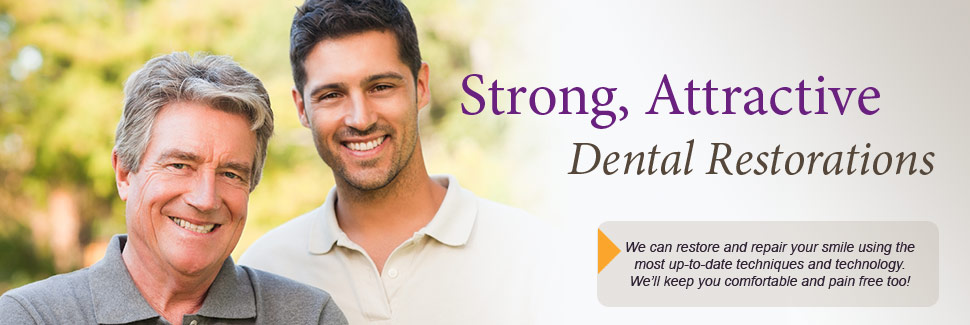 Strong, attractive dental restorations. We can restore and repair your smile using the most up-to-date techniques and technology. We'll keep you comfortable and pain free too!